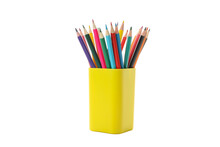 Yellow Stand With Pencils Isolated On White Background