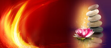 A Lotus Flower And A Cairn Against A Dark Red Background Lit By Flames.