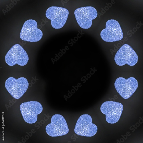 Fototapeta Abstract background with shined hearts in black background  obraz na płótnie