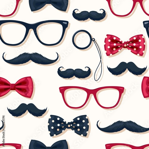 Photo Seamless pattern with moustache in retro style