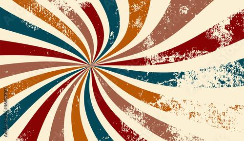 Fototapeta retro groovy sunburst background pattern in 60s hippy style grunge textured vintage color palette of blue orange red beige and brown in spiral or swirled radial striped starburst vector design obraz