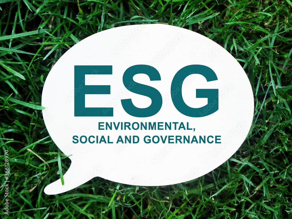 Fototapeta ESG Environmental, Social and Governance sign on the plate.