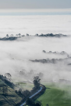 Mist And Winter Sunlight Over Kilburn Village And The Vale Of York From Above The White Horse Of Kilburn, Yorkshire