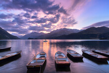 Moored Boats In Lake Of Sils A...