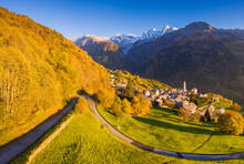 Aerial View Of Soglio In Autum...