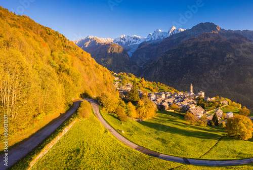 Aerial view of Soglio in autumn, Soglio, Bregaglia valley, Graubunden - 366131337
