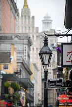 Bourbon Street, The Epicenter Of Nightlife In The French Quarter Of New Orleans