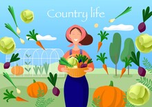 Country Life Illustration. Wom...
