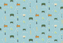 Cute Seamless Pattern. Vintage Furniture Against Baby Blue Shapes.