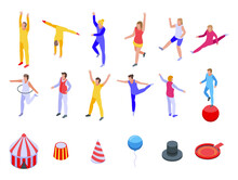 Acrobat Icons Set. Isometric S...