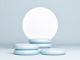 Mockup abstract geometry podium for product presentation, blue background, 3d render, 3d illustration