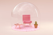 3D Rendering, Miniature Chair And Table Under Bell Jar