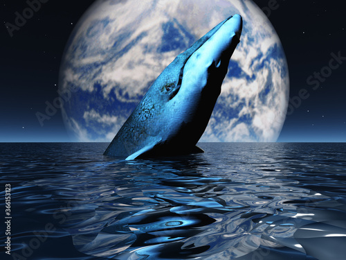 Whale on oceans surface with full moon. 3D rendering Canvas-taulu