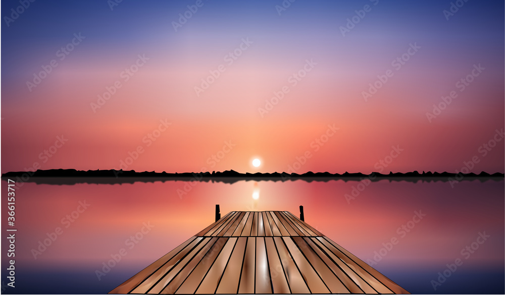 Fototapeta wooden bridge on the lake that goes into the pink sunset