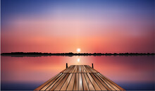 Wooden Bridge On The Lake That...