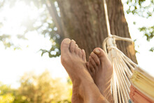 Feet Lying In Hammock Resting ...