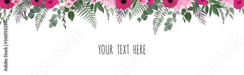 Horisontal botanical vector design banner Fototapet
