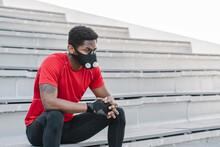 Sportsman Wearing Face Mask Si...
