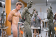 Sculpture And Naked Model In T...