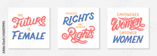 Fototapeta Bundle of girl power.vector illustrations,print for t shirts,posters,cards and banners.Stylish lettering compositions.Feminism quote and woman motivational slogans.Women's movement concepts obraz