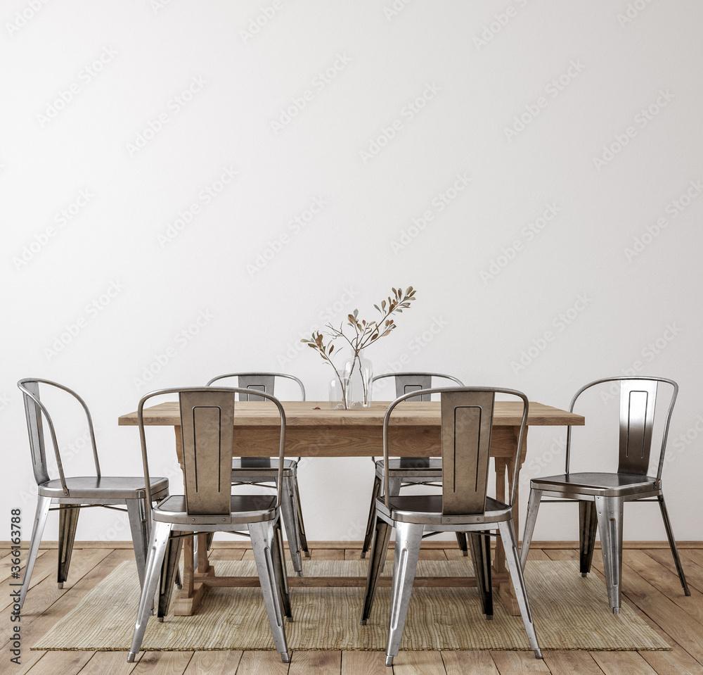 Fototapeta Farmhouse dining room interior, wall mockup, 3d render