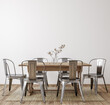 Farmhouse dining room interior, wall mockup, 3d render