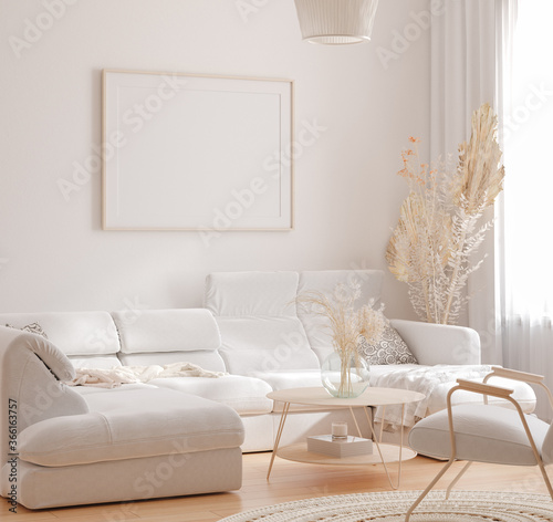 Fototapeta Mockup frame in interior background, room in light pastel colors, Scandinavian style, 3d render obraz