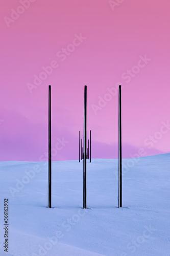 Power pylons in winter landscape