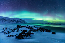 Northern Lights Above The Beach, Berlevag, Norway