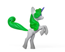 Unicorn Cartoon Is Prancing Side View In White Background