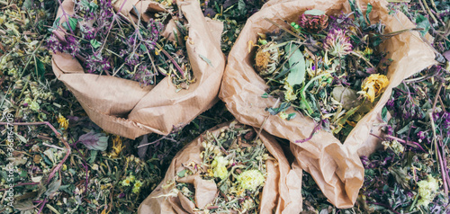 mix of healing herbs in paper zero waste bags Canvas