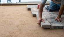 Paver Being Laid