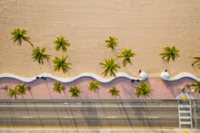 Aerial Top View Of Fort Lauderdale Beach Walkway With Palm Trees, Florida