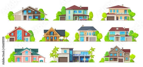 Obraz na plátně House building vector icons of real estate homes, cottages, villas and bungalows, mansions and townhouses