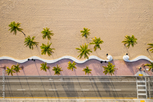 Slika na platnu Aerial top view of Fort Lauderdale Beach walkway with palm trees, Florida