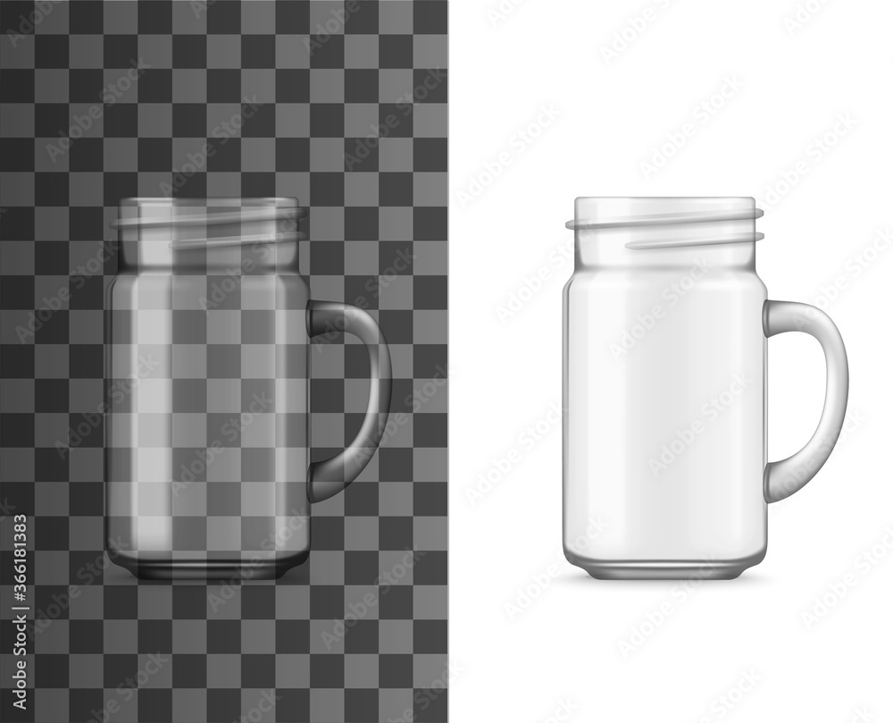 Fototapeta Glass jar with handle realistic vector mockup. Isolated transparent drinking cup or mug, empty clear jug or pitcher for cold beverages and drinks, 3d template of household glassware and tableware