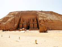 The Exterior Of Great Temple Front Side, Abu Simbel In Egyptian, In Nubia Village In Egypt. The Complex Is Part Of The?UNESCO?World Heritage Site?known As The Nubian Monuments.