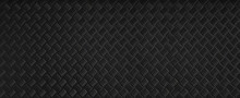Panorama Black Dark Grey Checker Plate Abstract Floor Metal Stanless Background Stainless Pattern Surface. Wild Picture.
