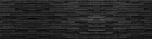 Panorama Black Brick Wall Of Dark Stone Texture And Background ,paranomic Stone Floor Wide Picture              .