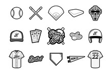Baseball Vector Set - Black And White
