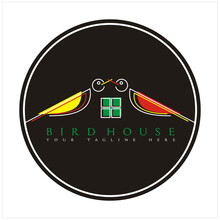 Bird House/pet House Logo Design Icon Vector Full Color With Black Circle Background