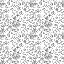 Pizza Seamless Pattern. Doodle Food Objects Isolated On White Background. Vector Illustration.