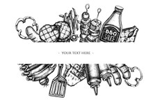 Frames With Black And White Spatula, Pork Ribs, Kebab, Sausages, Steak, Sauce Bottles, Grilled Burger Patties, Grilled Tomato, Grilled Salmon Steak, Grilled Bell Pepper