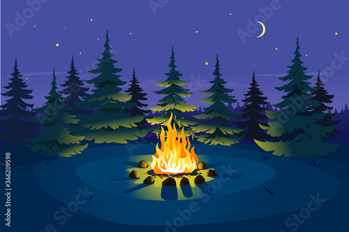 Obraz Bonfire in night spruce forest on glade and stars on sky with young moon, place for camping nature background, campfire with stones on round lawn, perfect spot to pitch tent - fototapety do salonu