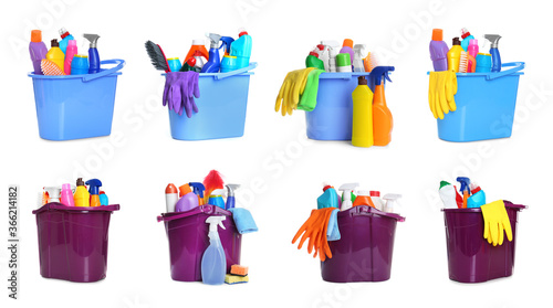 Fotografía Collage of buckets with cleaning supplies on white background