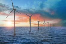 Floating Wind Turbines Installed In Sea. Alternative Energy Source