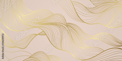 Obraz Golden lines pattern background. Luxury gold Line arts wallpaper. Design for cover, invitation background, packaging design, fabric and print. Vector illustration. - fototapety do salonu