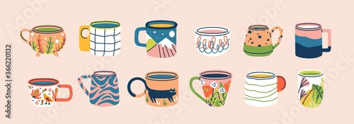 Collection of different modern cups decorated with design elements vector flat illustration. Set of colored mugs filling by beverages isolated. Cute trendy crockery with handle for drink - 366220132