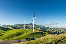 Wind Farm Next To A State Highway In New Zealand