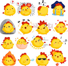 A Vector Of Chicken Full Of Emotions